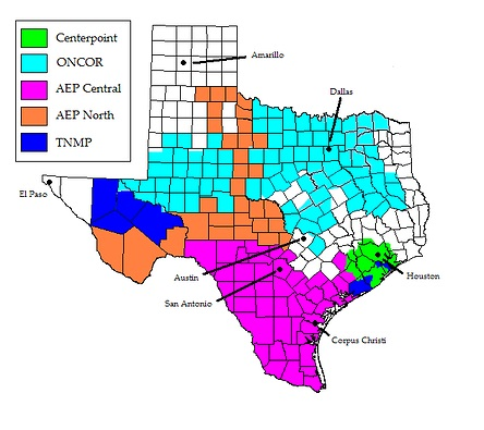 Central Texas Map Of Cities.Coverage Map Electricity Express