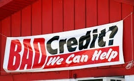 "Image of a banner ""bad credit? we can help"""