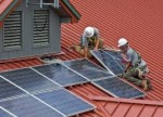 Solar panels installed in a roof