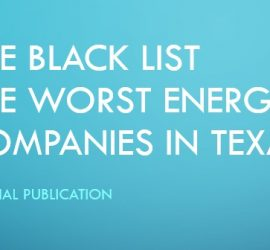 Banner with text The plack list the worst energy companies in Texas